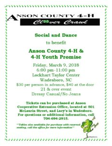 Cover photo for Anson County 4-H Clover Crawl Annual Social & Dance