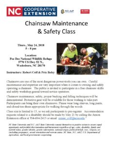 Cover photo for Chainsaw Maintenance  & Safety Class