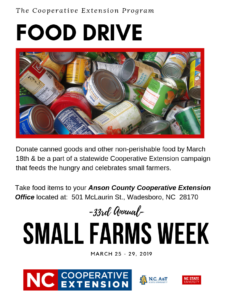 Cover photo for Food Drive - Small Farms Week