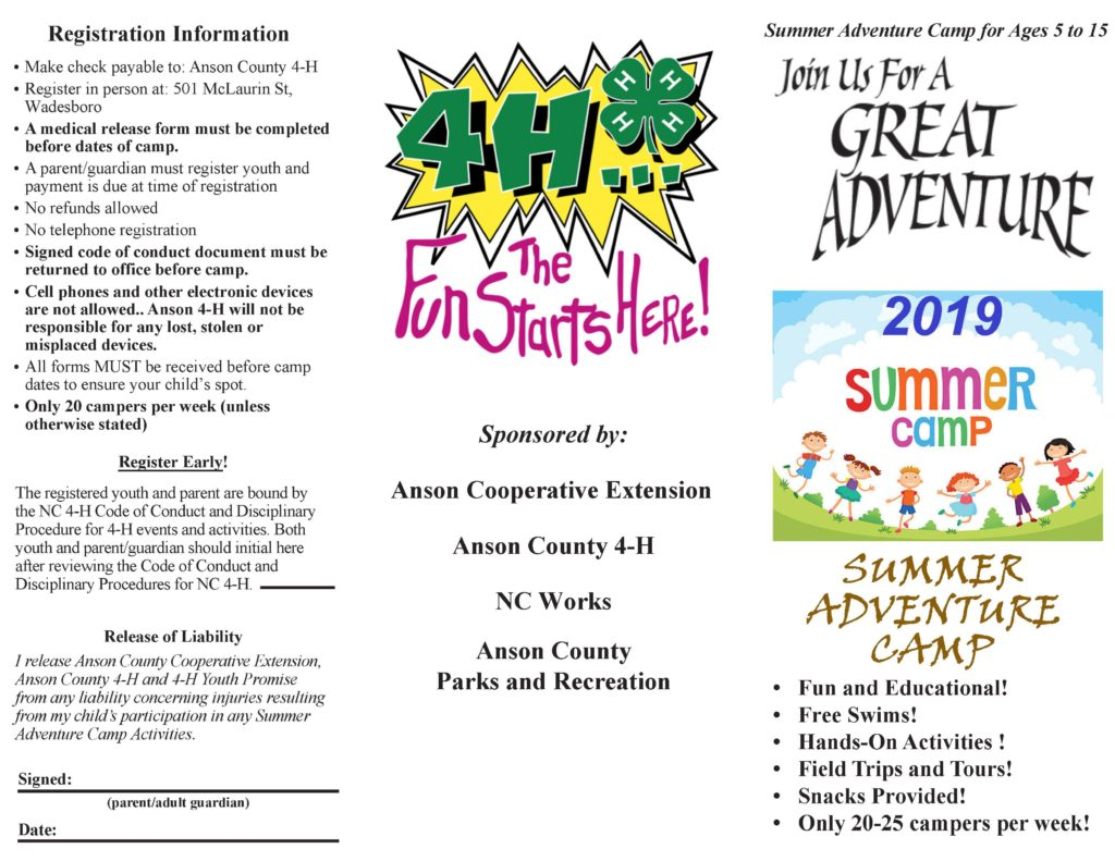 Summer Camp brochure page 1 image