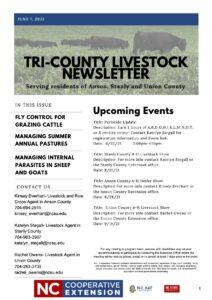 Cover photo for Summer 2021 Tri-County Livestock Newsletter